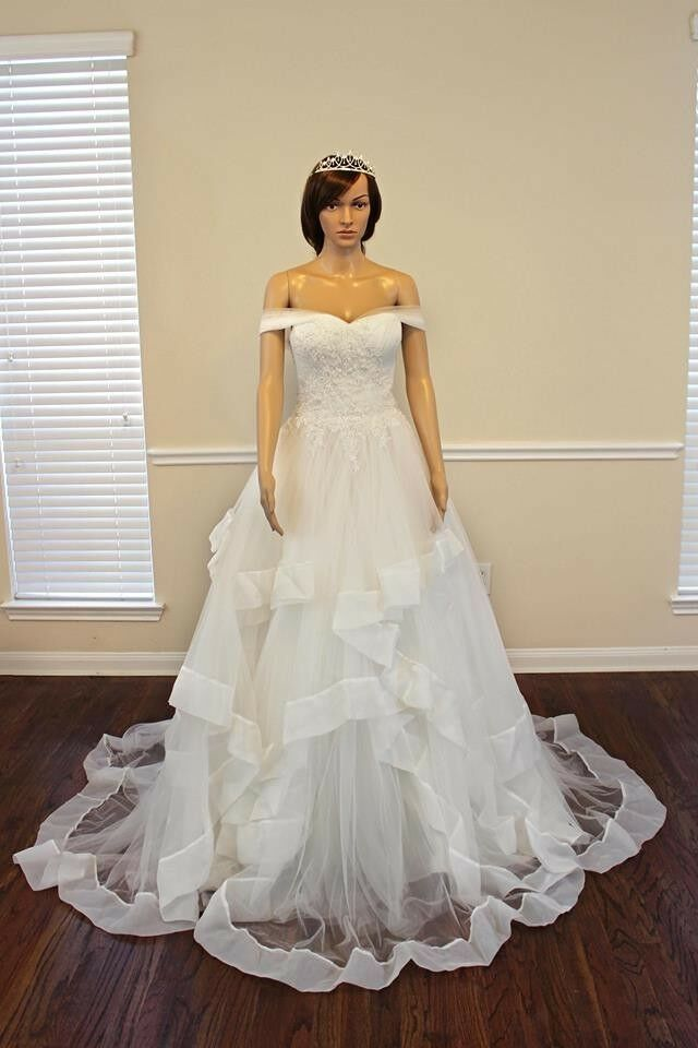 A-line/Princess Off Shoulder Neck Rose Train Beading Tulle White Wedding Dress