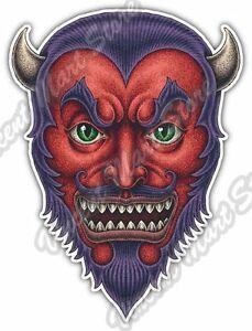 Red Devil Head Monster Horns Fangs Scary Car Bumper Vinyl