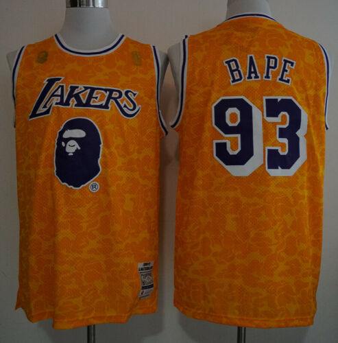Bape /& Los Angeles Lakers #93 Snoop Dogg yellowBasketball Jersey Size XXL S
