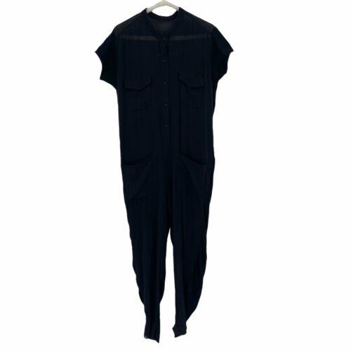 Raquel Allegra Short Sleeve Jumpsuit Size 0 Black
