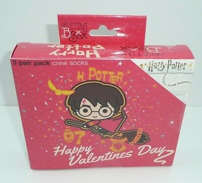 Harry Potter Valentines Day 3 Pack Of Women S Crew Socks Gift Love 4 10 Casual Ebay