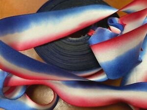 "Silk Ribbon 1"" on the Bias Hand dyed 1yd Made in USA Red White & Blue"