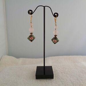 Black-Floral-Earrings-Cloisonne-Jewelry-Rose-Quartz-Earrings-Free-Shipping