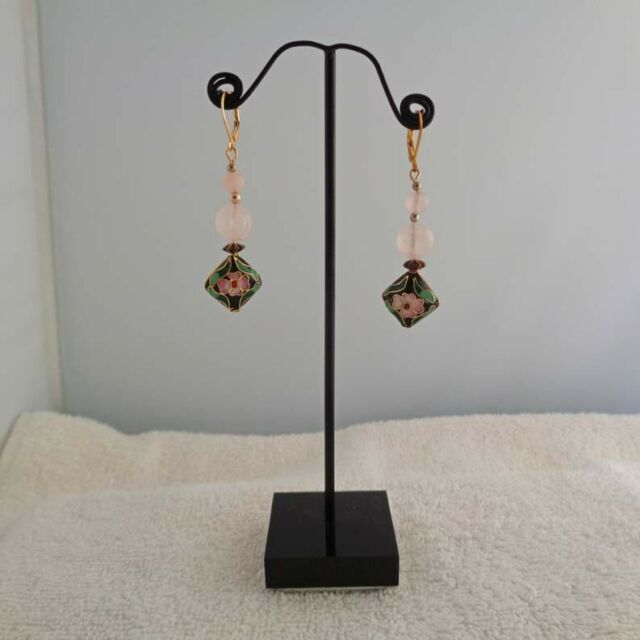 Black Floral Earrings - Cloisonne Jewelry - Rose Quartz Earrings - Free Shipping