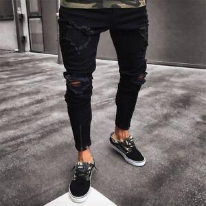 d432d3cc8da Image is loading Men-Black-Skinny-Jeans-Pants-Destroyed-Stretchy-Biker-