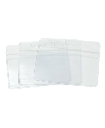 10x Clear Plastic ID Badge Card Plastic Wallet Pocket Holder Pouchs 98x86mm UK
