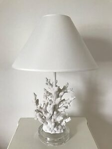 Stunning nautical seaside coral table lamp with shade large ocean image is loading stunning nautical seaside coral table lamp with shade mozeypictures Images