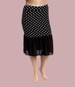 96483abda29 Women Plus Size Black White Polka Dot Pencil Skirt w Bottom Ruffles ...