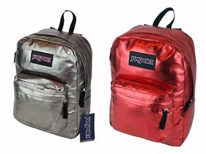 New JanSport Super FX Backpack Pewter Silver or Red Metallic Coat ...