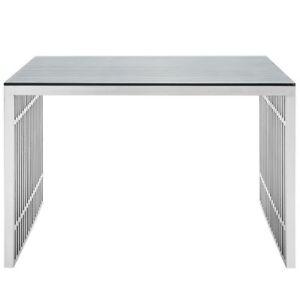 Stainless steel office desk Executive Lexmod Gridiron Stainless Steel Office Desk In Silver Guangxi Gcon Furniture Group Co Ltd Lexmod Gridiron Stainless Steel Office Desk In Silver Ebay