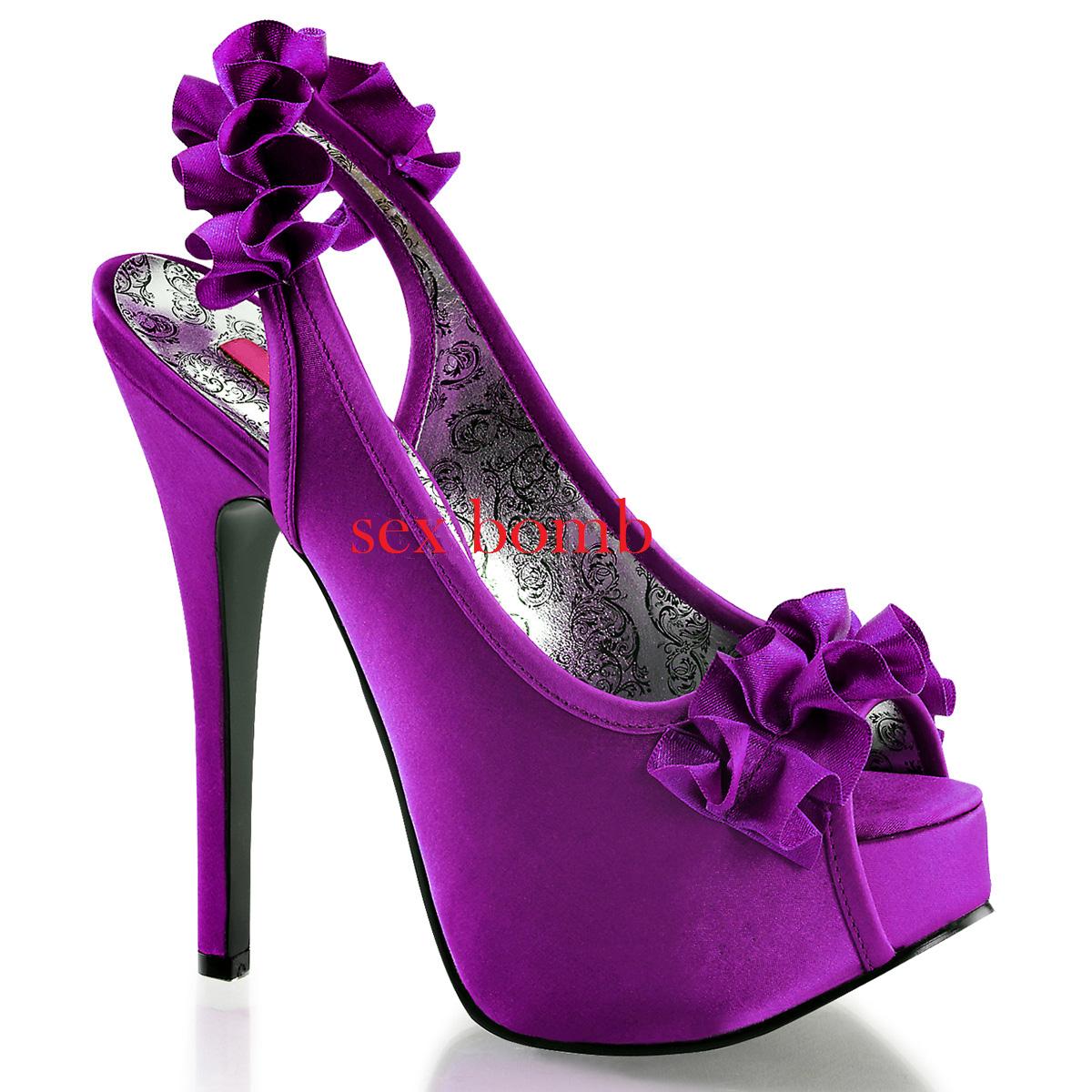 SEXY decoltè tacco 14,5 plateau INVISIBILE dal 36 al 42 purple shoes GLAMOUR