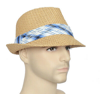FEDORA TRILBY GANSTER MICHAEL JACKSON Beach Party Sun HAT Faux Straw Check Band