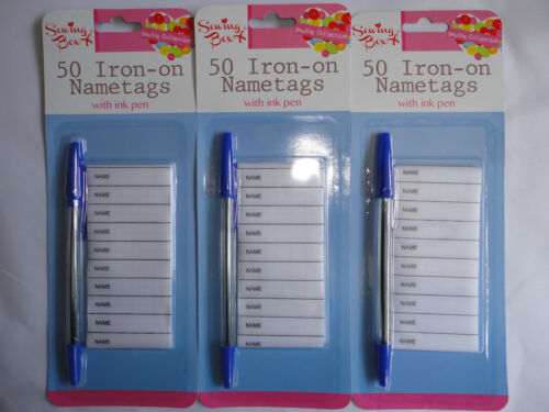 50 100 150 Iron on Name Tag Labels Pen School Uniform Work Clothes Kids Kits