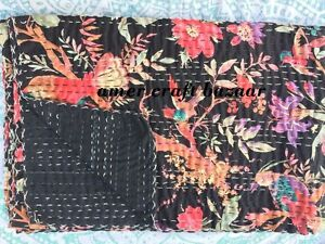 Twin-SIZE-KANTHA-QUILT-BEDSPREAD-BLANKET-THROW-COVERLET-Flowers-Floral