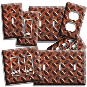 Image Is Loading RUSTED INDUSTRIAL DIAMOND METAL LIGHT SWITCH OUTLET PLATE
