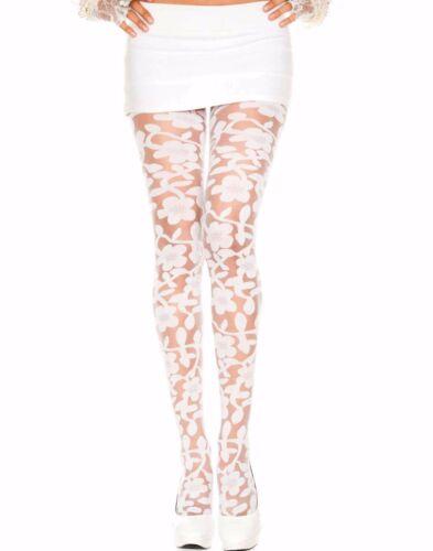 Vintage Spandex Sheer Pantyhose Woven Floral Rose Vine Tattoo Design Full Tights