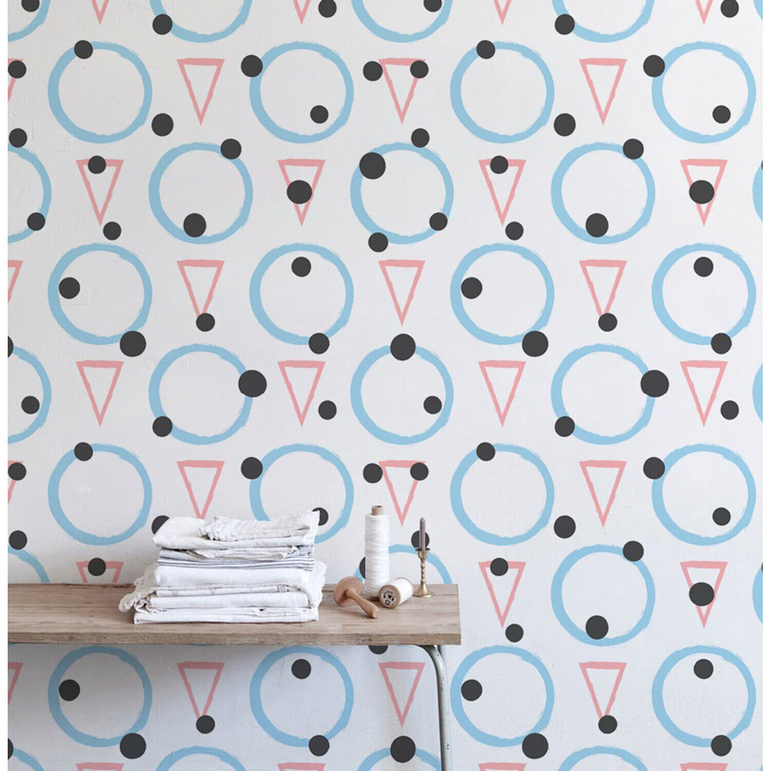 Triangles and Circles Hand drawn Non-woven wallpaper Home wall mural Decal