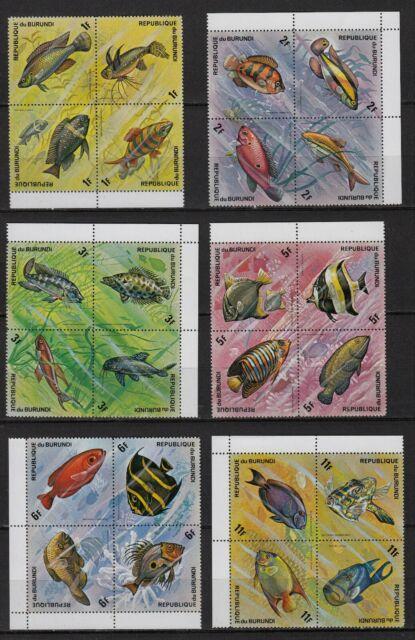 Ae91* bloc x6 République du Burundi 1974 poissons fish neuf** MNH TBE