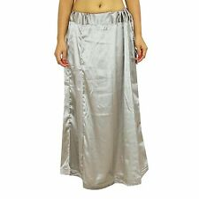 Grey Satin Silk Saree Petticoat Bollywood Indian Lining For Underskirt Clothing