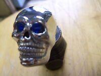 Chrome Skull Head Decorative Mounting Bolts With Indigo Blue Eyes Set Of 4