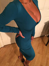 Connie's Teal Green Cocktail Dress Long Sleeve Deep Neckline size L