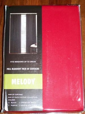 MELODY 1 x PAIR 2  CURTAIN 143 X 213 CM  black out FREE POST RED