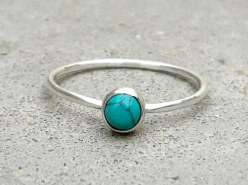 Turquoise Stone Ring Anxiety Fidget Bohemian Ring Solid 925 Sterling Silver Ring