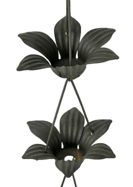 Zeckos Copper Finish Metal Lily Flower Rain Chain w/Attached Hanger 48 Inch