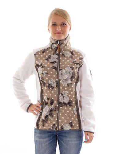 CMP Cardigan Fleece Jacket White Pattern Wool Collar Warming