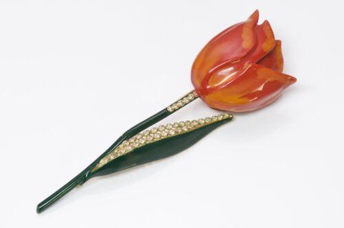 VALENTINO Garavani 1980's Large Enamel Tulip Brooc