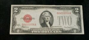 RARE-Currency-Note-1928-D-Red-Seal-2-Two-Dollar-Bill