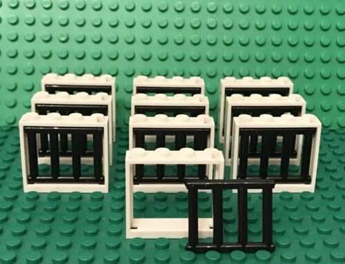 Lego 10 White Window Frame 1x4x3 With 4 End Protrusions Barred Bar City Prison
