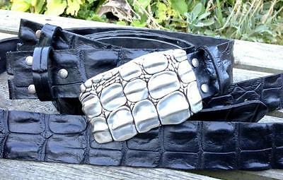 echt Leder Gürtel Krokodil für Wechselschnalle Harley Buckel schwarz 4cm breit