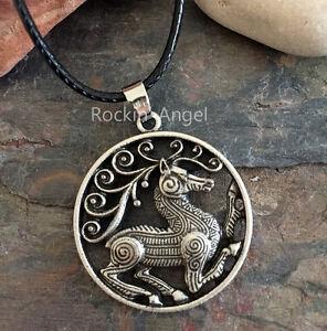 Antique silver plt celtic knotwork stag disc pendant necklace viking la imagen se est cargando plata antigua plt celta knotwork stag disco colgante aloadofball Choice Image