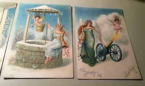 FOUR-VINTAGE-POSTCARDS-WITH-ANGELS-CIRCA-1906