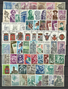 SPAIN-1966-COMPLETE-YEAR-STAMP-COLLECTION-67-Values-Mint-Never-Hinged