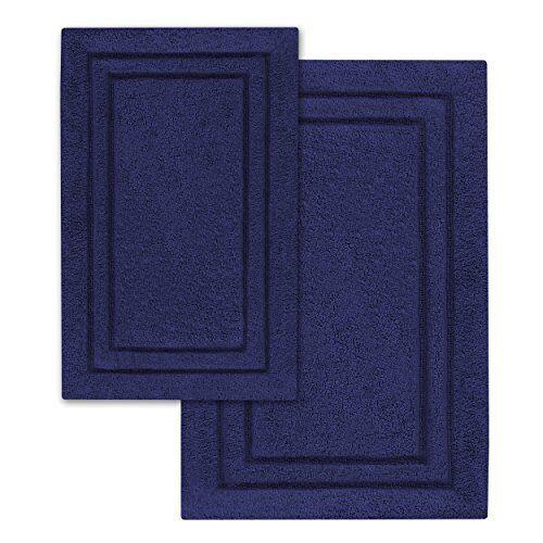 NEW Superior 2 Piece Cotton Non Skid Bath Rug Set Navy Blau  24 x 36 Bath Mat Se