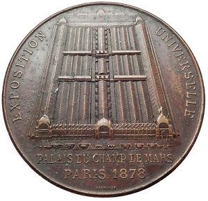 1878-FRANCE-Paris-World-039-s-Fair-5-1cm-FRENCH-Medal-w-TOCADERA-PALACE-Rare-i73698