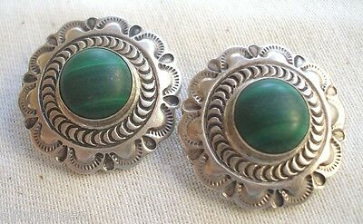 Signed Vintage NAVAJO Sterling Silver & MALACHITE Clip-On EARRINGS, D. Delgarito