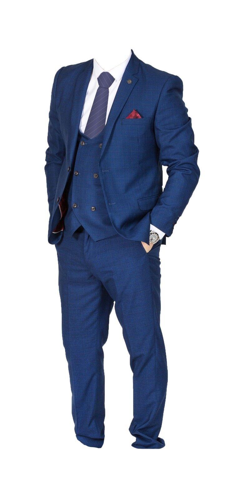 Herren Marc Darcy kariert Anzug 3-teilig Hochzeit   Party Style Georg -   | Große Auswahl  | Rich-pünktliche Lieferung  | Smart