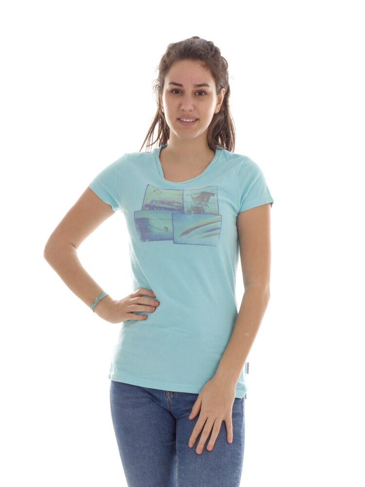 Brunotti T-shirt Printshirt Haut D'Été Blau Col Rond Baanu Extensible Doux