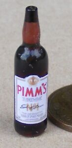 1:12 Scale Pimms No 1 Label On A Glass Bottle Tumdee Dolls House Miniature Drink