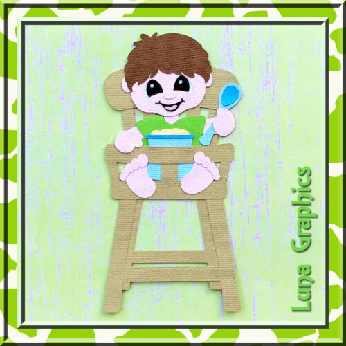 MY FIRST FOODS BOY IN HIGHCHAIR  Embellishments card toppers /& scrapbooking