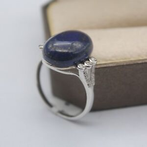 New-Design-925-Sterling-Silver-with-Lapis-Lazuli-Oval-Shape-Ring-Size-5-9