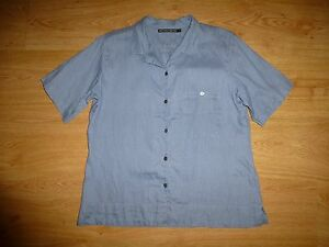 Women-039-s-Gudrun-Sjoden-Grey-Blue-Short-Sleeve-Button-Up-Linen-Shirt-Top-M-UK-12