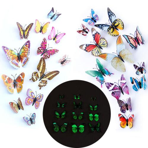 Glow IN DARK 12PCS 3D Leuchtender Schmetterling Magnetischer Wandaufkleber Home