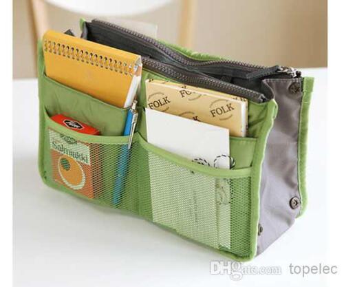 Green Handbag Organizer Travel Bag Insert Liner Purse Organiser Large Tidy Pouch