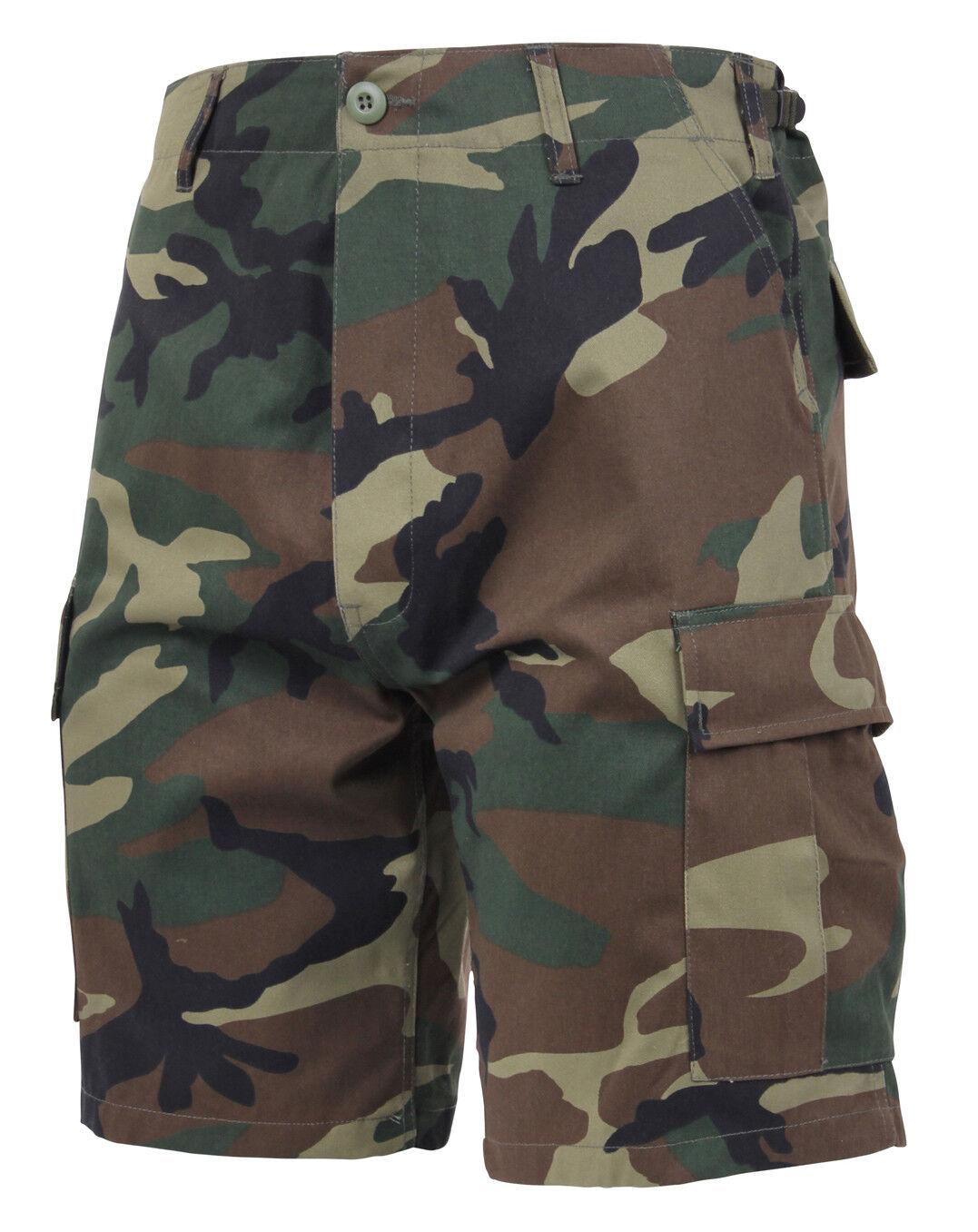 Rip Stop or Regular Rothco 65212//7056 Woodland Camo BDU Shorts