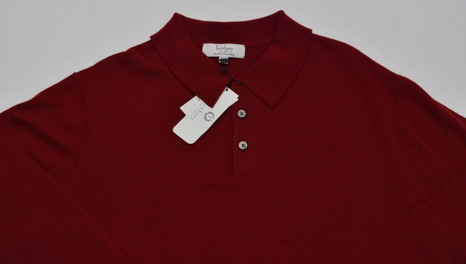 Men's TURNBURY True Red Merino Wool Knit Shirt Sweater Large L NEW NWT