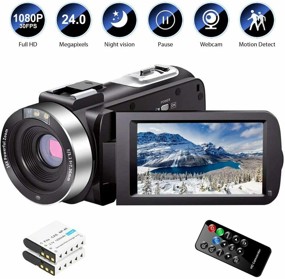 Video Camera Camcorder For Youtube Digital Vlogging FHD 1080P 30FPS 24MP 16X Zoo